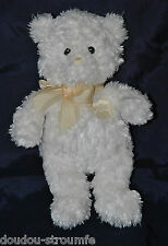Peluche Doudou Ours Blanc GUND BABY My First Teddy Noeud Satin 24 Cm Etat NEUF
