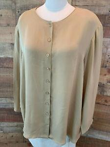 JONES-NEW-YORK-WOMAN-24W-4X-Plus-Tan-Long-Sleeve-Silk-Button-Shirt-Top-NWOT
