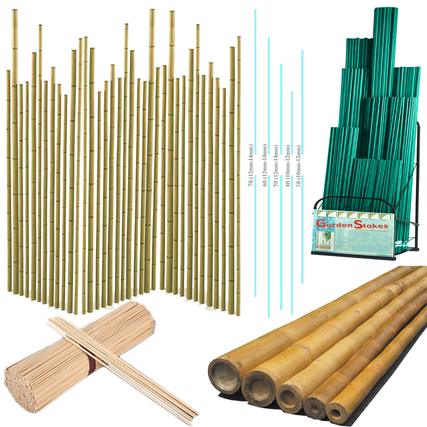 Raised Beds & Support Structures Elixir Gardens 3ft Extra Strong Heavy Duty Professional Bamboo Plant Support Garden Canes x 40