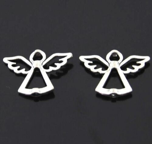"""6pcs-1.25/"""" silver Angel spacer beads-silver tone connector beads"""