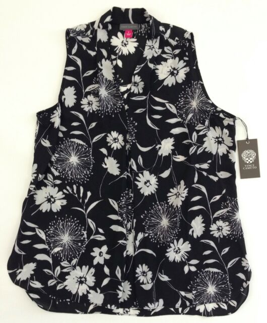 c11868335667d6 VINCE CAMUTO  69 Womens Black Floral Sleeveless Pleat Front V Neck Blouse  Top