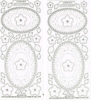 PRICK N STITCH OVALS, FLOWERS & LEAVES SILVER/CLEAR PEEL OFF STICKERS - 2 SHEETS