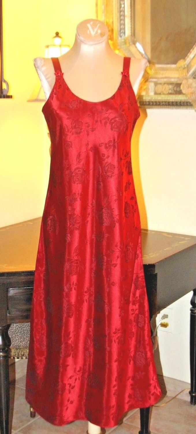 CINEMA EXOILE RED pink PRINT LONG SILKY GOWN    S