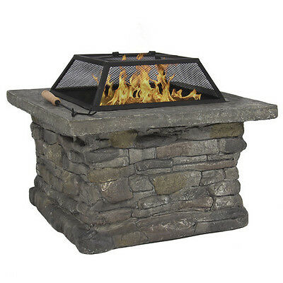 Stone Base Outdoor Patio Heater Fire Pit Table with BBQ Grill Firepit