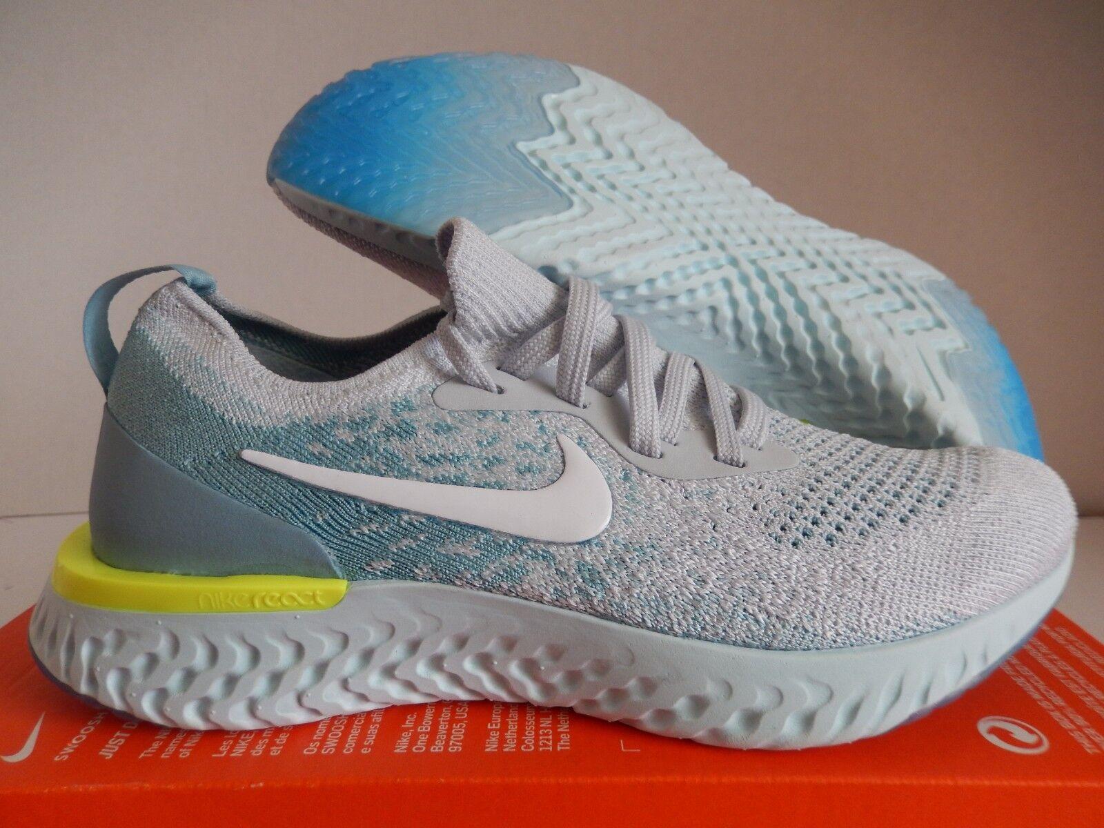 Mujeres Épica Nike Épica Mujeres reaccionar Flyknit Platino Puro-Blanco-Mica Azul [AQ0070-008] 32ab1d