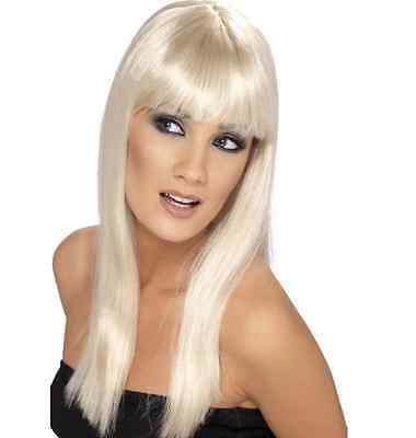 Da Donna Ragazza bionda Glamourama Parrucca Lunga Diritta Frangia Katy Perry Colore dei capelli