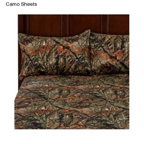 New King Size Sheet Set Pillow Cases Camouflage Camo Hunter Outdoor Microfiber