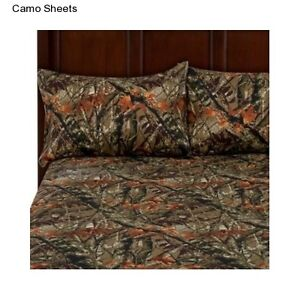 Size sheet set pillow cases camouflage camo hunter outdoor microfiber
