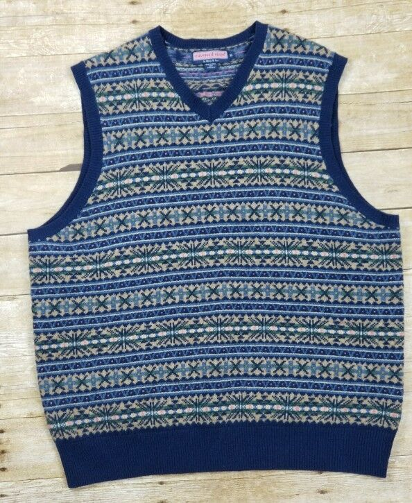 Mens Vineyard Vines  Sweater Lambswool Alpaca Jacquard  Vest Size XL