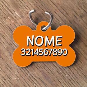 Medaglietta-Targhetta-cane-forma-di-osso-NOME-NUMERO-TELEFONO-arancione
