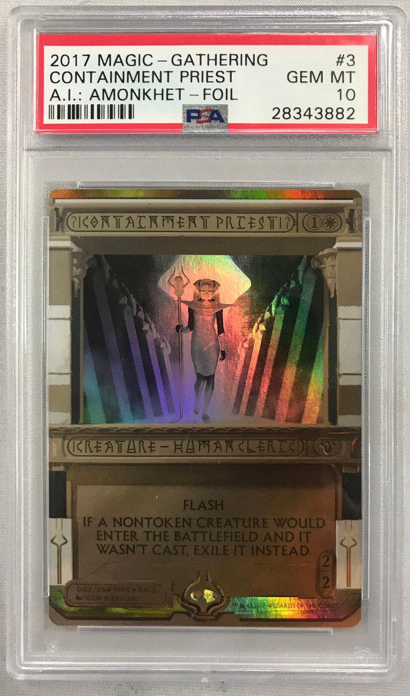 Magic the Gathering CONTAINMENT PRIEST AMONKHET INVOCATIONS Foil PSA 10 GEM MT