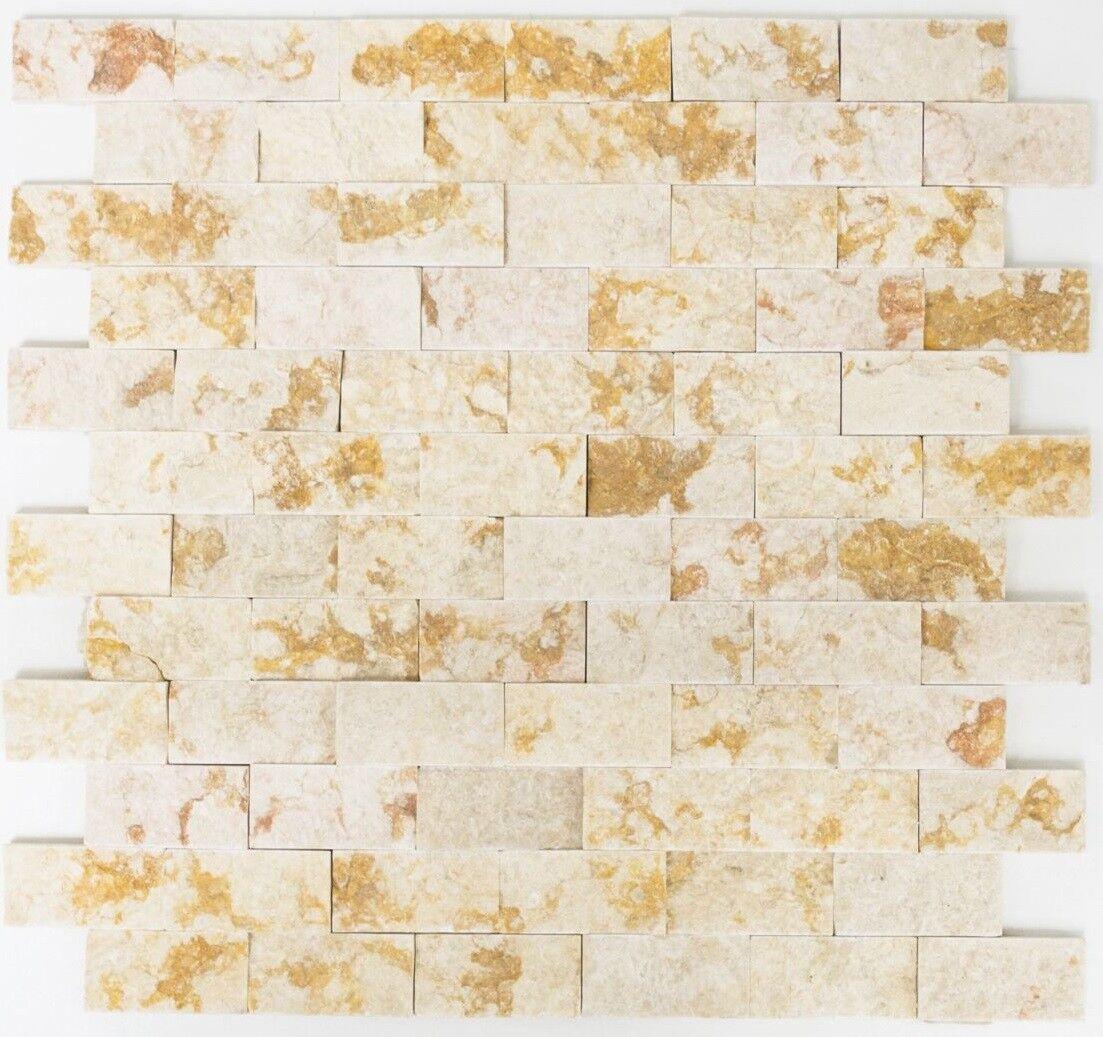 Mosaïque carreau marbre pierre naturel brique Splitface 42-X3D46_f   10 plaques