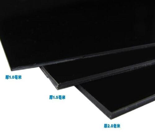 200x300x2MM 1 pcs ABS Styrene Plastic Sheet Plate Black Smooth