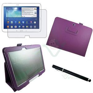 Pellicola-Pennino-Custodia-pelle-VIOLA-Stand-pr-Samsung-Galaxy-Tab-3-10-1-P5200