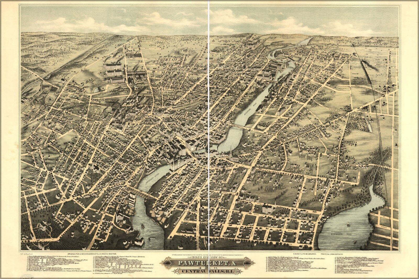 Poster, Many Größes; Map Pawtucket & Central Falls Rhode Island 1877