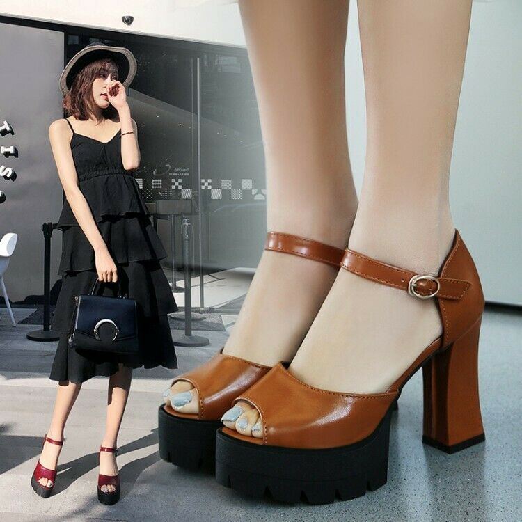 Women Ladies Fashion Open Toe Ankle Strap Platform Chunky Heel Sandals shoes IOI