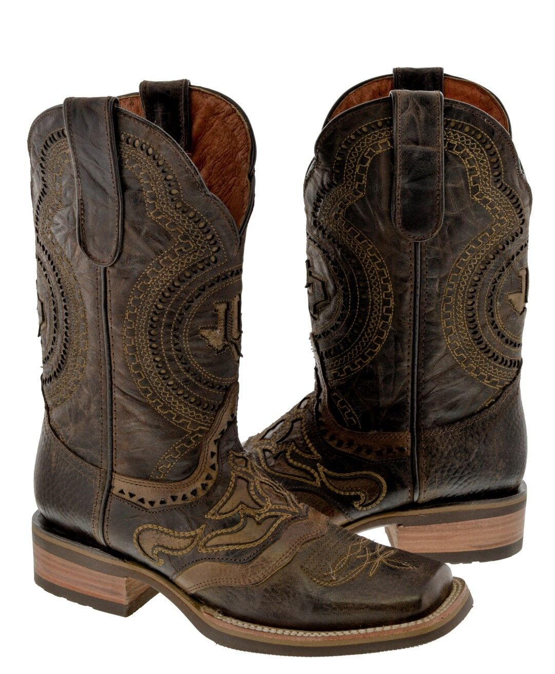 Mens Rodeo Brown Overlay Stitched Leather Cowboy Boots Riding Durable Square