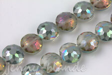 10pcs Sunflower Faceted Crystal Glass Rondelle Spacer Loose Bead Charm 14x10mm