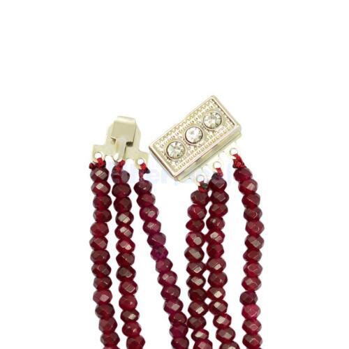 Stilvolle Boho Rubin facettierte Perlen Frauen Multi Layer Halskette