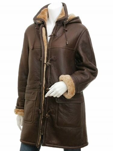 Women Brown Duffle Coat Sheep Skin Leather Jacket