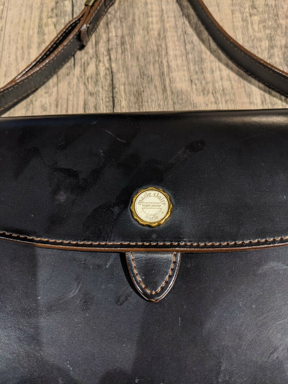 Authentic Marie Claire Black Small Leather Handbag - image 3