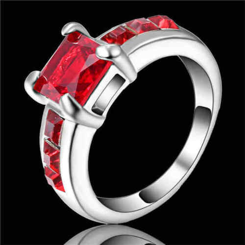 Vintage Square Red Ruby Halo Bague de fiançailles 10KT Or Blanc Rempli Party SZ 8