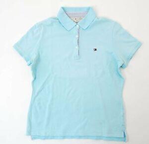 Tommy Hilfiger Poloshirt Polohemd Damen Gr.M blau uni Piquè Knopf -S912