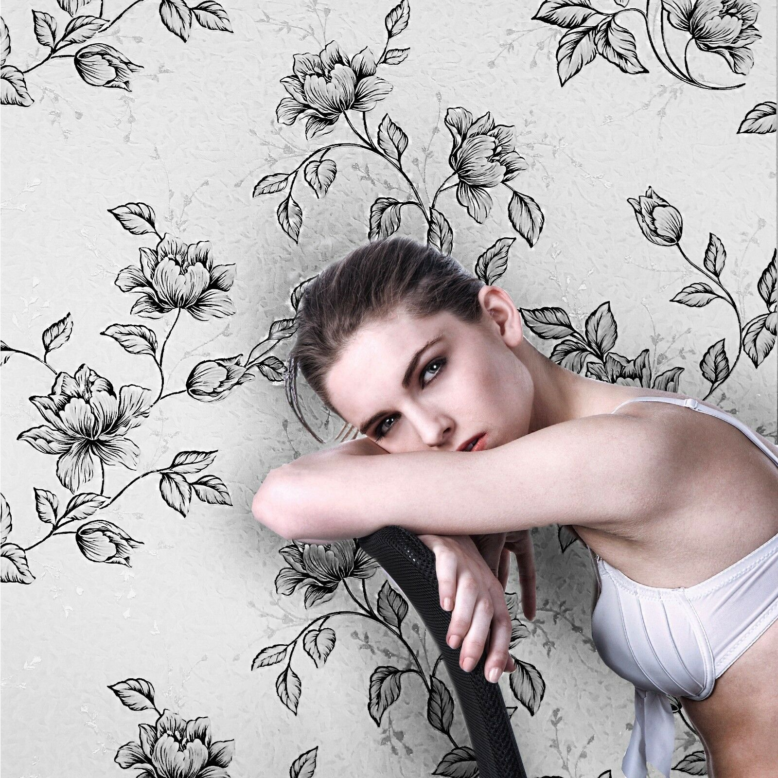 Silver Floral Textured Wallpaper Border Cottage Black Pink Uk B