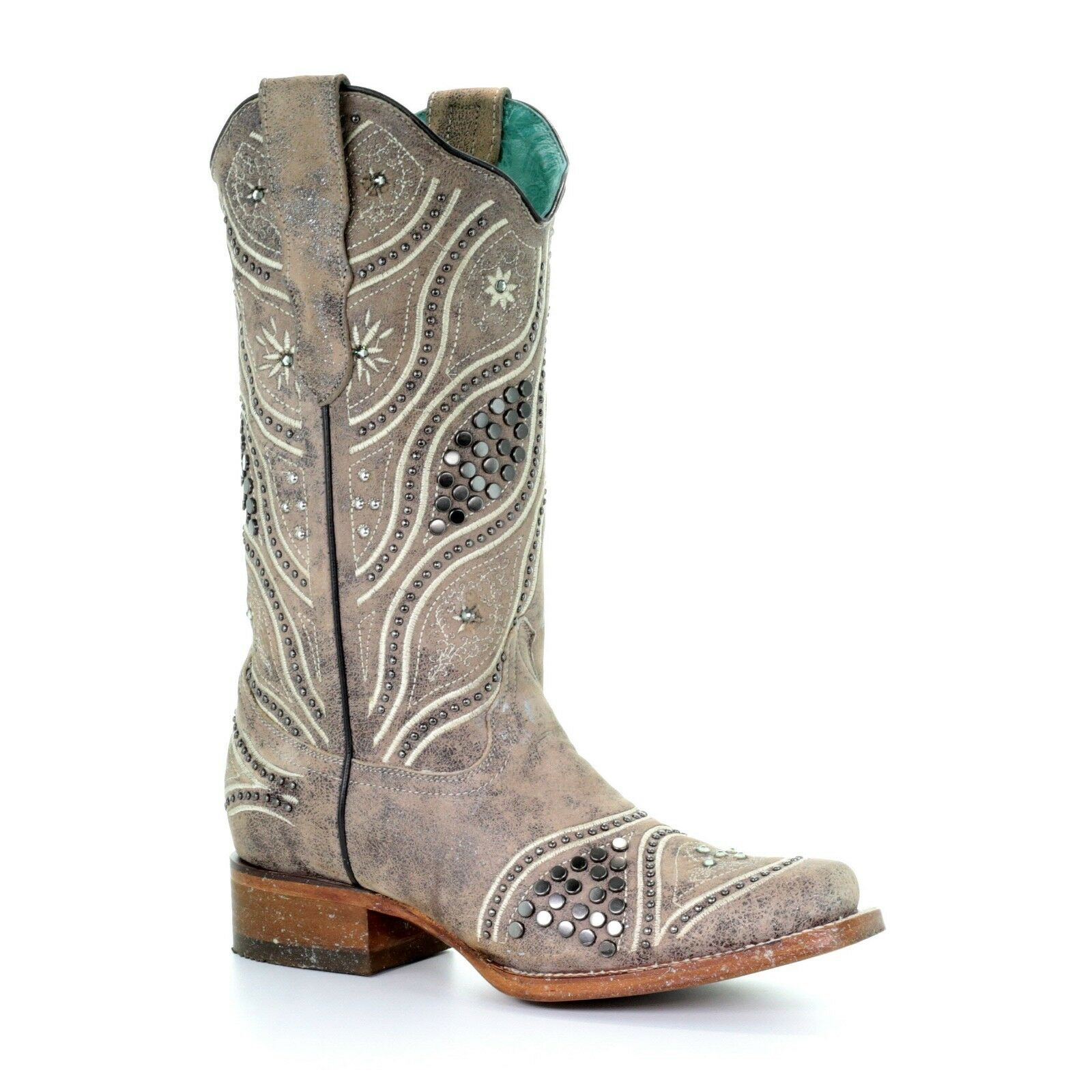 Corral Ladies Taupe Stud and Embroidery Boot E1389