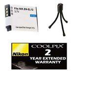 Battery + Tripod + Warranty For Nikon S6100 S6200 S6300 S8000 S8100 S8200 S9100