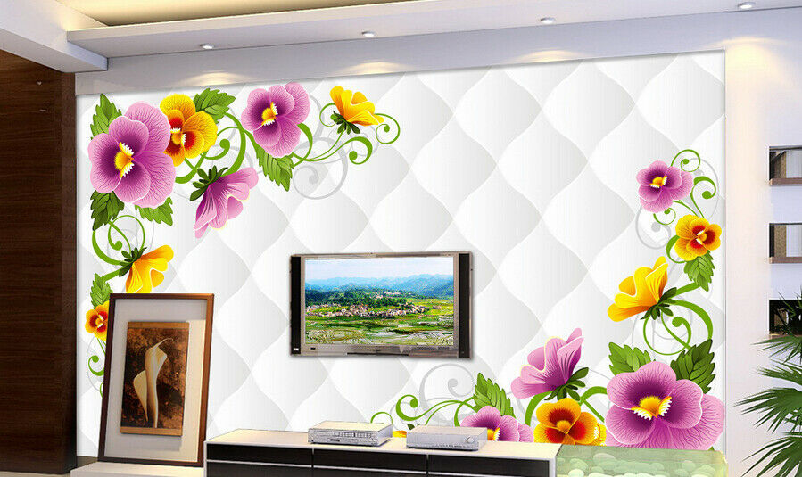3D Ripple Flowers 74 Wall Paper Murals Wall Print Wall Wallpaper Mural AU Lemon