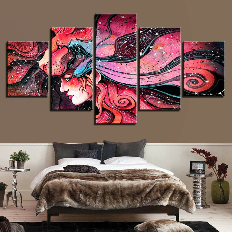 Abstract Psychedelic Woman Painting 5 Piece Canvas Print Wall Art