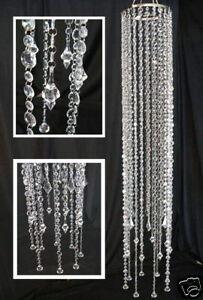 Large beaded acrylic crystal chandelier faceted drops light kit ebay image is loading large beaded acrylic crystal chandelier faceted drops light aloadofball Images