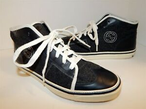 Gucci-Mens11-5-Black-Wool-Leather-High-Top-Sneakers-Italy
