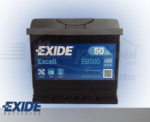 batteria auto 50 ah positivo a dx 450a eb500 exide excell punto panda multijet ebay. Black Bedroom Furniture Sets. Home Design Ideas