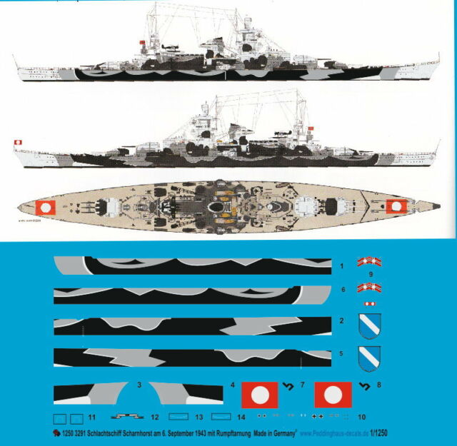 September 1943 mit Rumpft Peddinghaus 1//200  3317  Schlachtschiff Scharnhorst 6