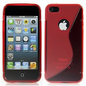 Apple-iPhone-5-5S-TPU-Silikon-Case-Schutz-Ring-Huelle-Etui-S-Line-Transparent-Rot