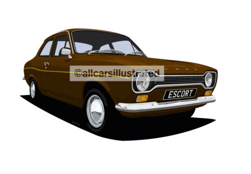 FORD ESCORT MK1 FRIDGE MAGNET CHOOSE YOUR CAR COLOUR. LARGE