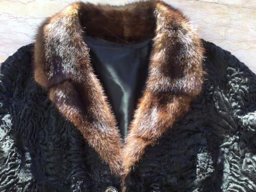 Noir 44 Vison 42 Magnifique Col Astrakan Clair Manteau D'élevage Taille En qxv4t