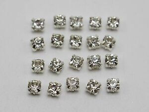 250-Silver-Clear-Crystal-Glass-Rose-Montees-4mm-Sew-on-Rhinestones-Beads