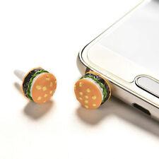 2x Cute Simulated Hamburger Phone Anti Dust Plug For 3.5mm Earphone Jack Plug HU
