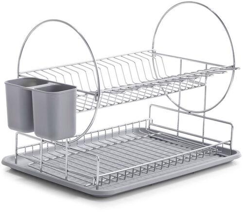 Panier à Vaisselle Chrome Gris avec Panier A Couverts Égouttoir