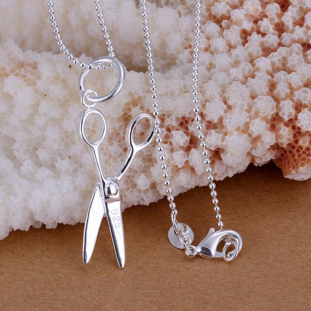 Charming Cool Chain Necklace Scissors Pendant Silver Plated