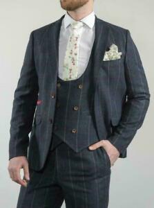 Homme-3-pieces-Carreaux-Bleu-Tweed-Suit-Grand-Produit-Incroyable-valeur