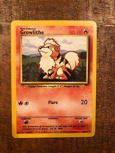 Pokemon Base Set Shadowless 28//102 Growlithe Uncommon EX+