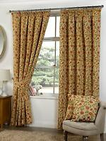 Rani Antique Ready Made Fully Lined Tape Top Floral Tapestry Curtains