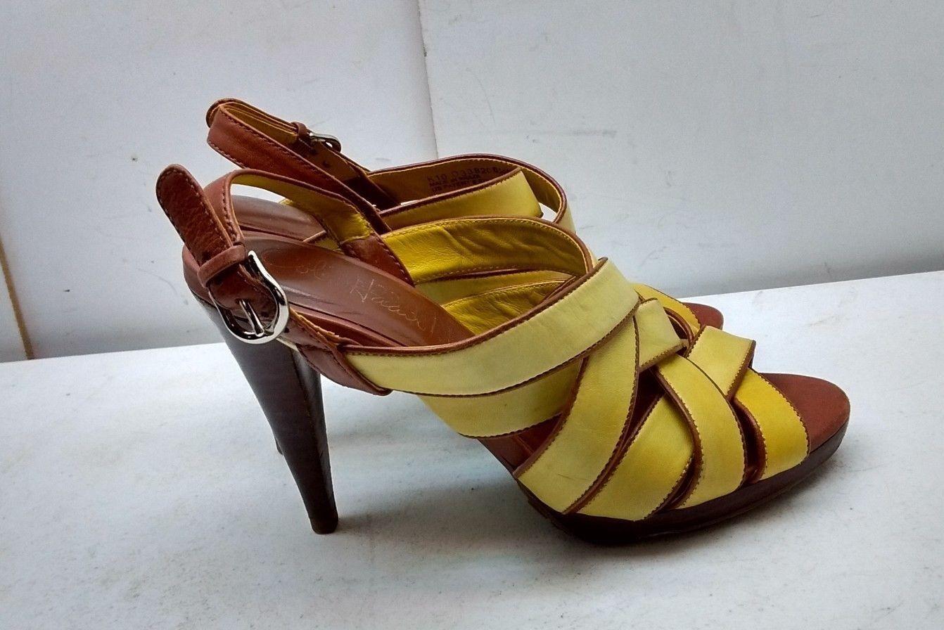 Cole Haan Mujeres Sandalias De Cuero Cuero Cuero Amarillo con Tiras Tacón Charol Zapato Puntera Abierta 6.5B  precios mas baratos