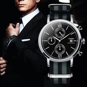 super popolare c4a6e 79aad Dettagli su Orologio Uomo James Bond 007 Spettro Data Tessuto Cronografo  Impermeabile Top*