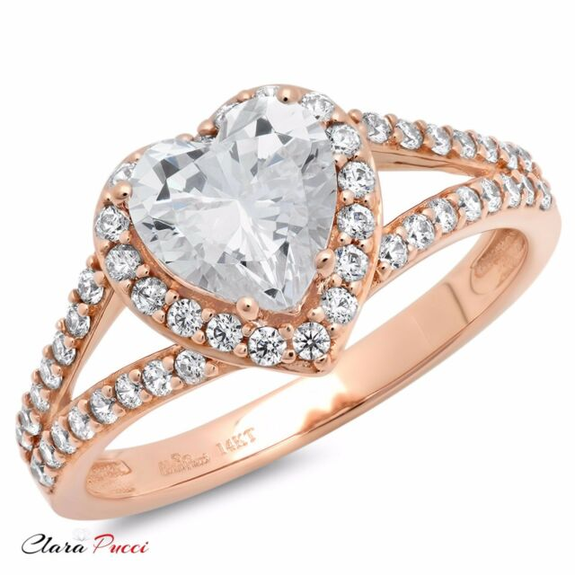1.85ct Round Heart Cut Solitaire Engagement Wedding Ring Solid 14k ...