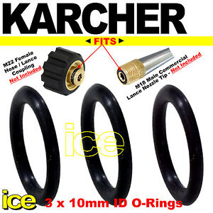 Details about 3 x KARCHER Pressure Washer Spare Replacement Hose Nozzle  Lance Leak Oring Seals
